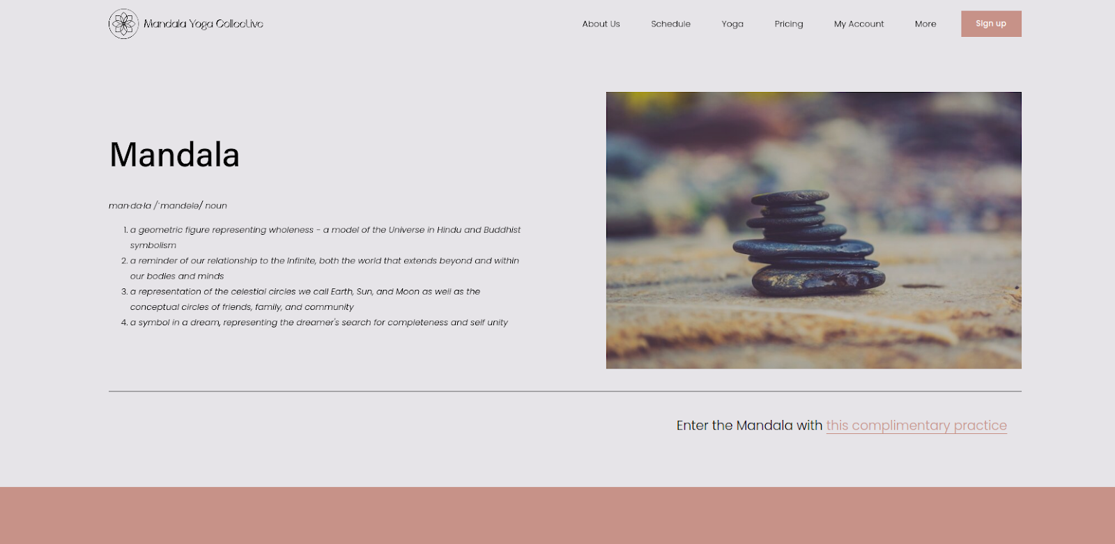 Mandala Yoga Collective's fitness website home page