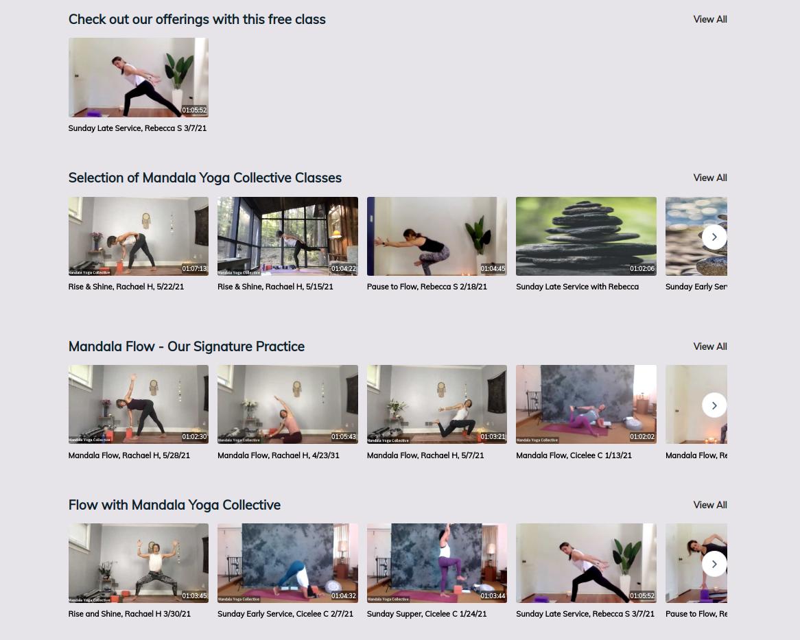 Mandala Yoga's video-on-demand playlist powered by bookee
