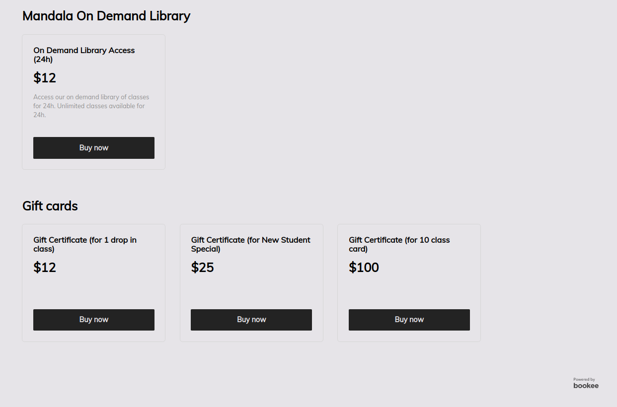 Mandala Yoga's pricing and checkout page with on-demand library access and gift certificates