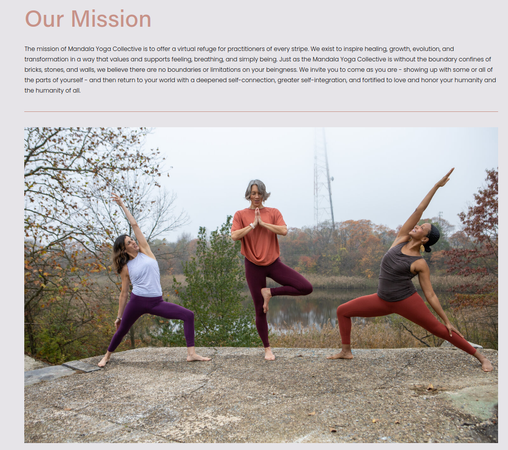 Mandala Yoga's our mission page describing its core values and ideals