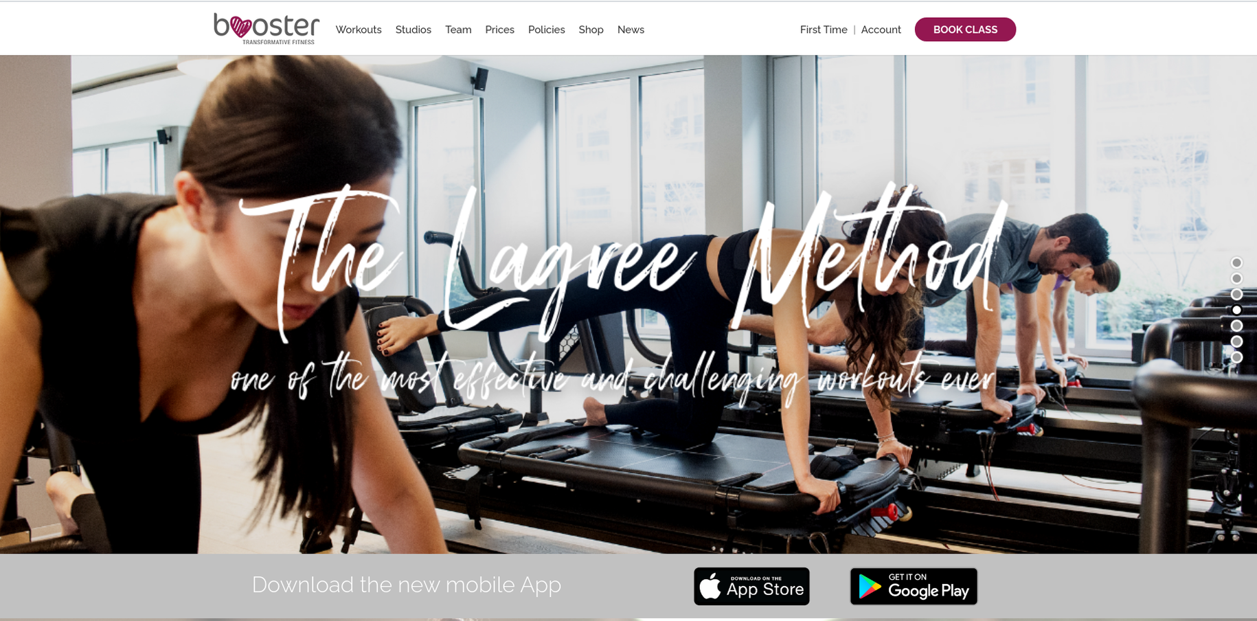 Booster Transform's home page offering its Lagree method as a effective & challenging workout