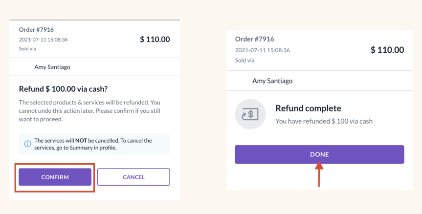 Option to refund client for a previous order.