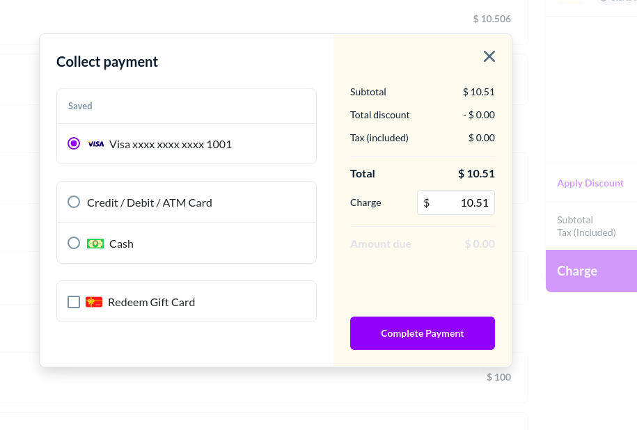 Multiple options for collecting payments.