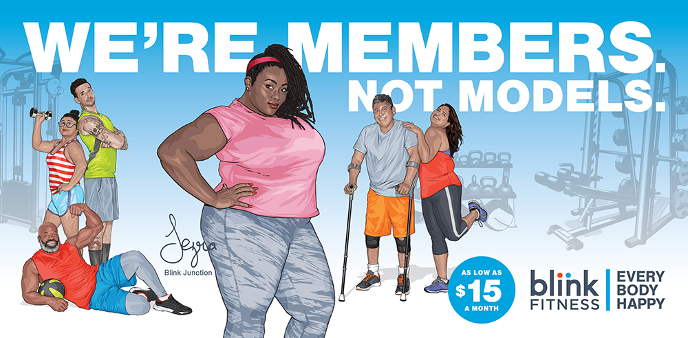 Blink fitness ad showing everyday people encouraging inclusive fitness.