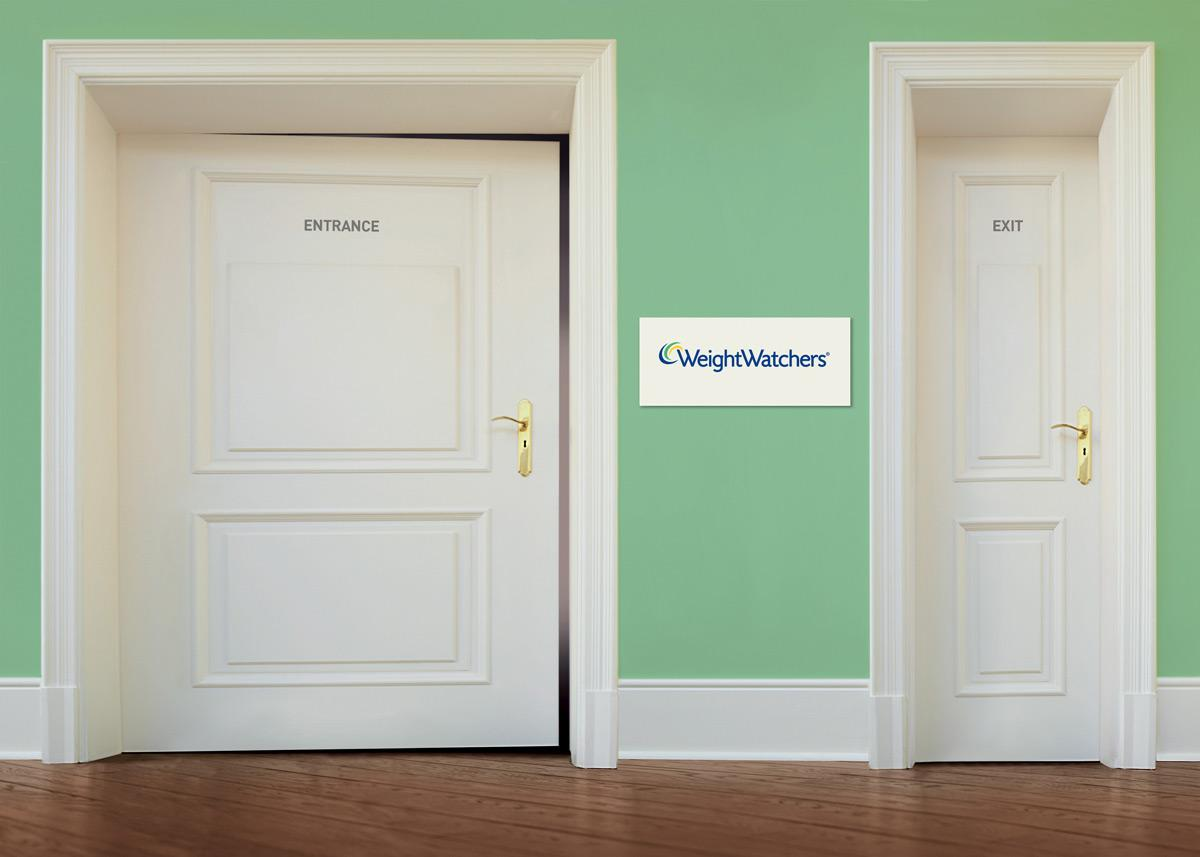A wide entrance door on left and a narrower exit door on right.