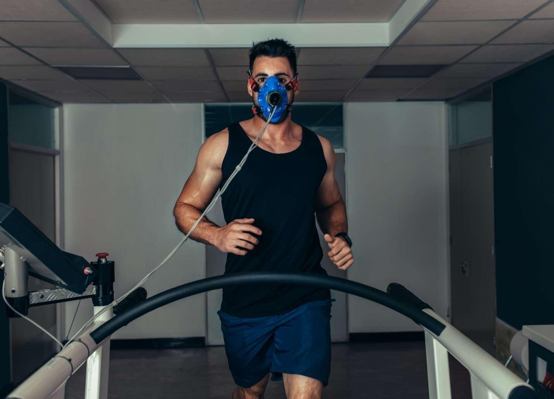 Man taking treadmill test