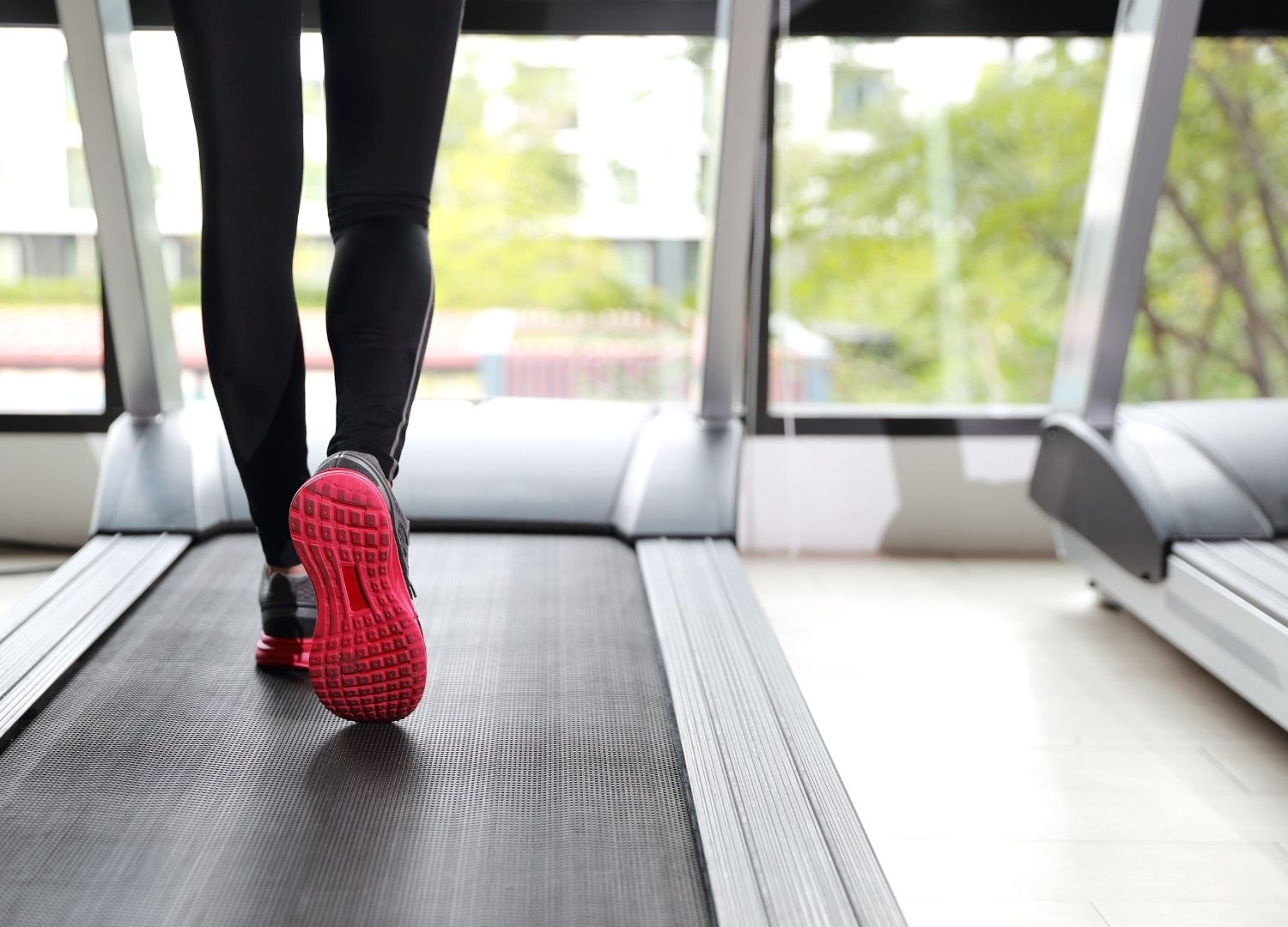 A person walking on a treadmill