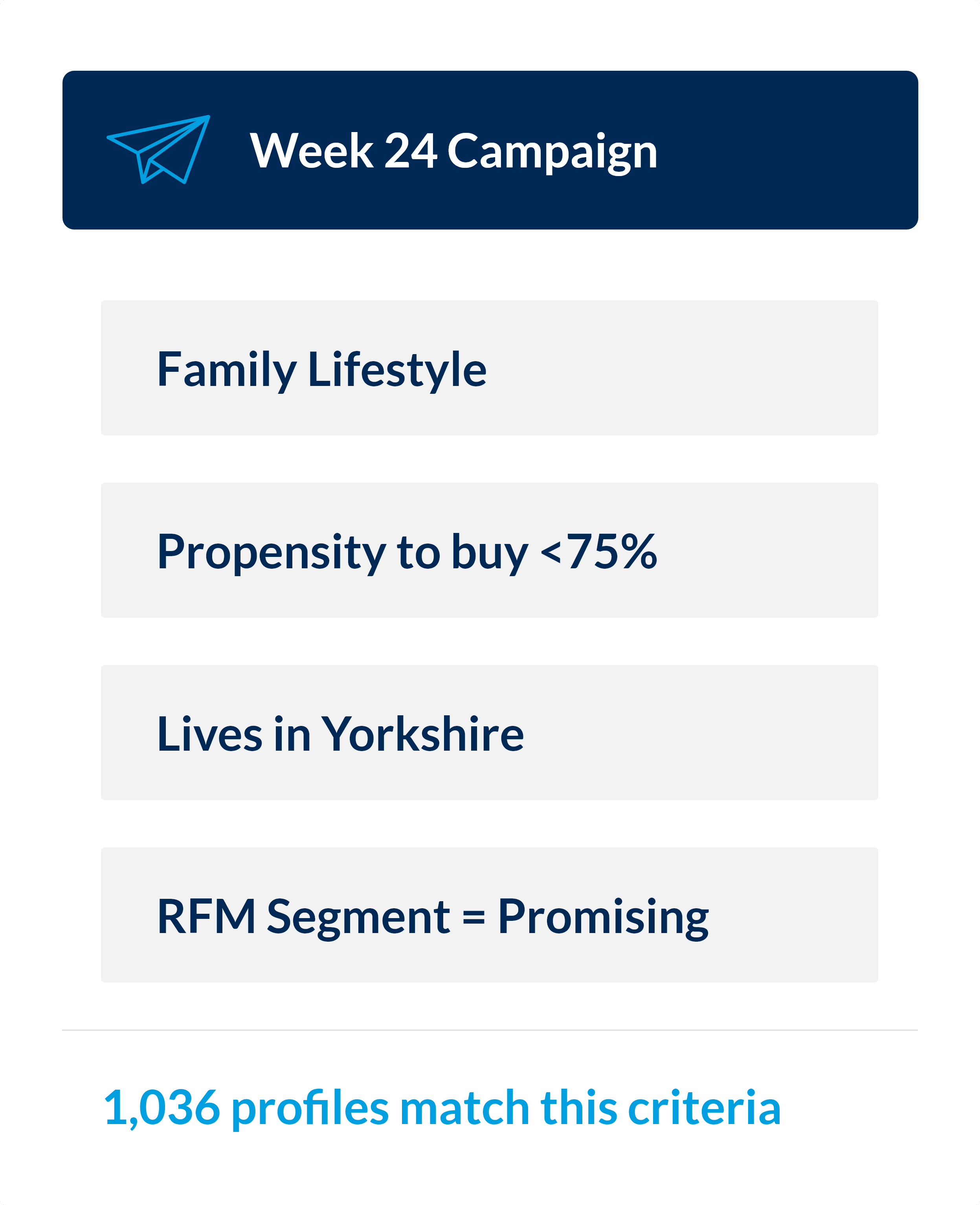 Diagram showing an audience segment made up of the following criteria: family lifestyle, propensity to buy more than 75%, lives in Yorkshire, and in the promising category in RFM. 1,036 profiles match this criteria
