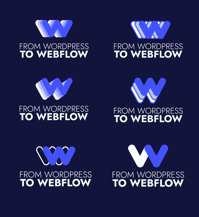 Various logo ideas for From WordPress To Webflow
