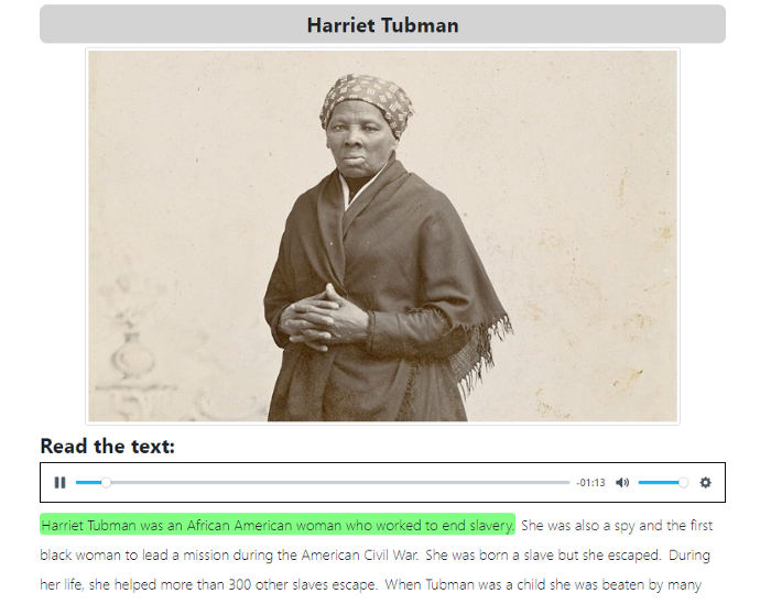 An image of ZenGengo Text to Test assignment about Harriet Tubman