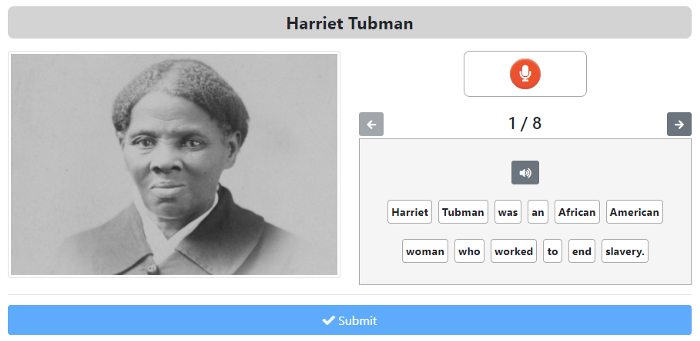 An image of a ZenGengo Speaking Drill assignment about Harriet Tubman