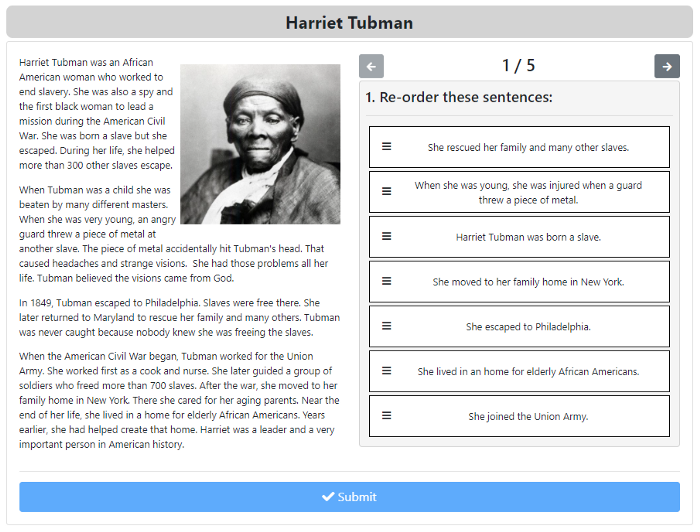 An image of a ZenGengo Multi Choice assignment about Harriet Tubman