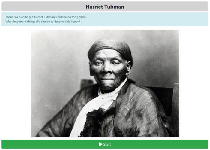An image of a ZenGengo Written Report assignment about Harriet Tubman