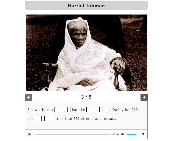 An image of a ZenGengo Text Gap Fill assignment about Harriet Tubman