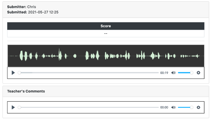 An image of student feedback page from a ZenGengo Audio Recording assignment