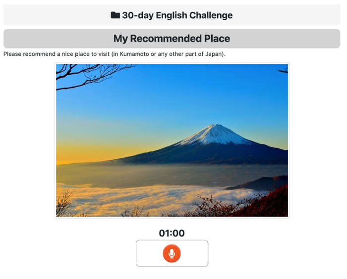 An image of one of the ZenGengo Audio Recording assignments from the 30-day challenge