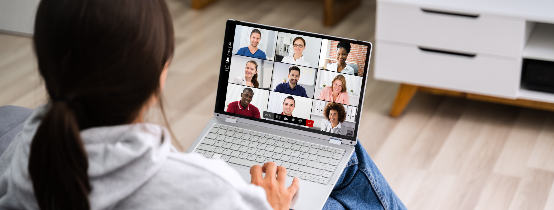 A person on a video conference.