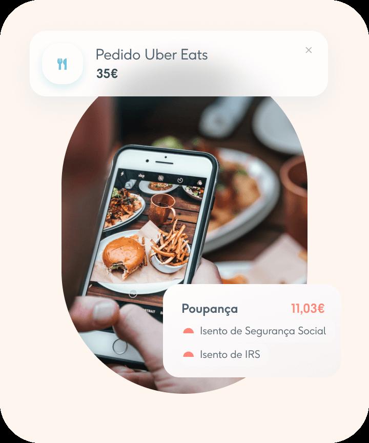 Pedido online - Uber Eats - Cartão de Alimentação Coverflex com isenção de Segurança Social e IRS