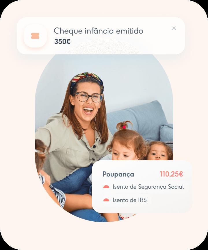 Mãe e filhos com Cheque Infância emitido através da Coverflex