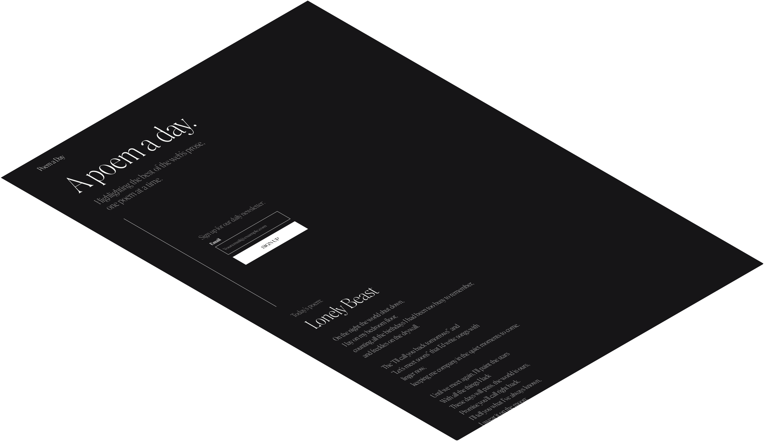 Designing a landing page using only typography.