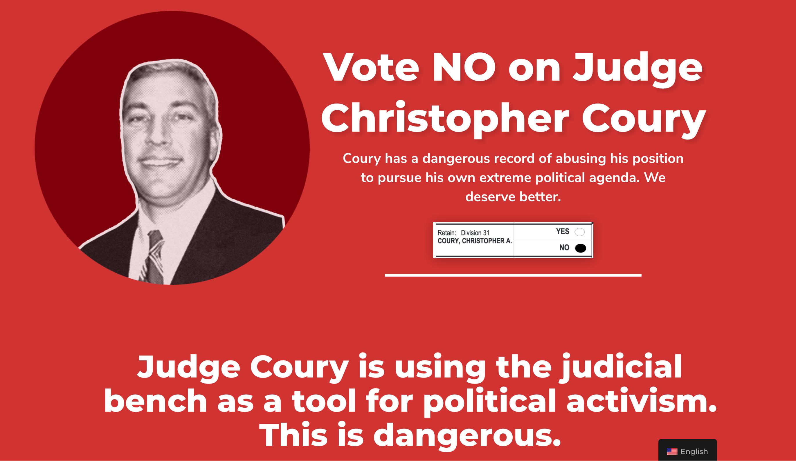 No On Coury Landnig Page