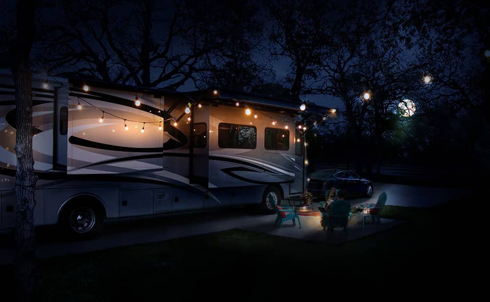 Moonlit Evening setting with RV & campfire