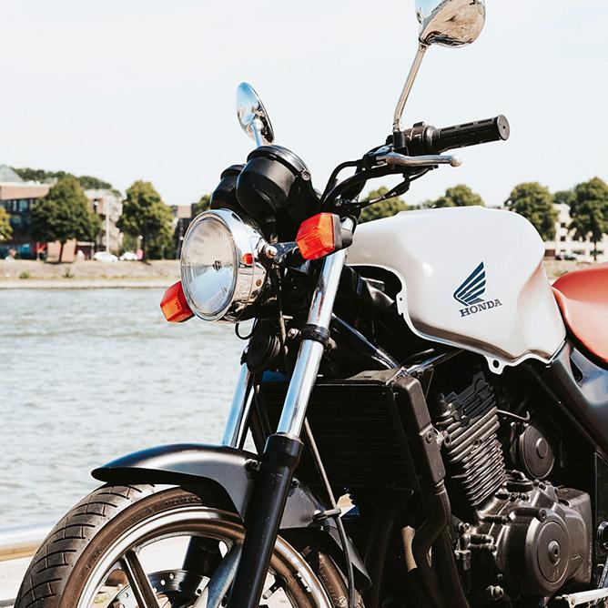 A vintage black motorcycle.