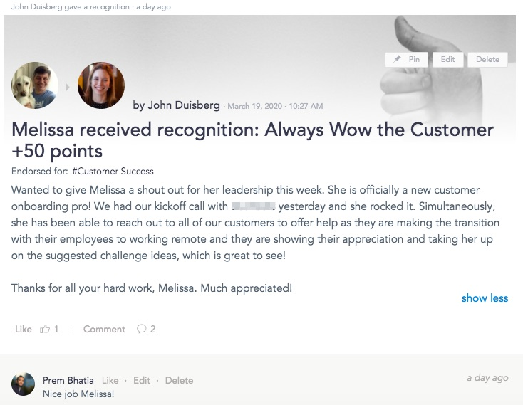 Manager to staff recognition for customer service