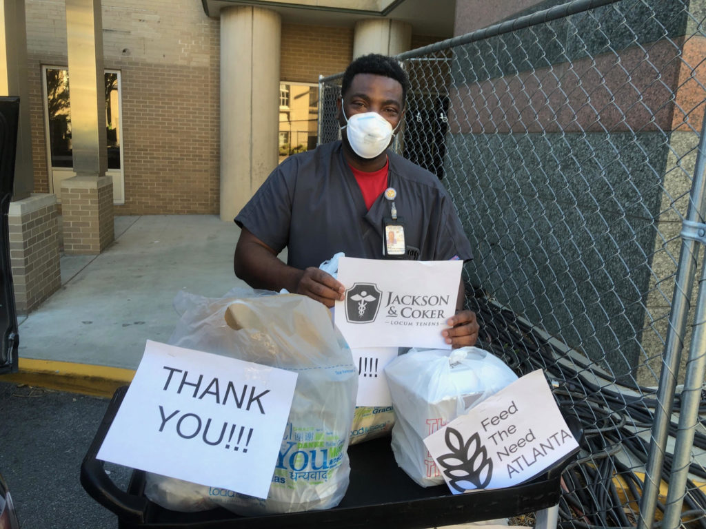 Healthcare working thank Jackson & Coker for employee giving