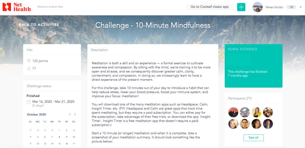 Virtual meditation challenge