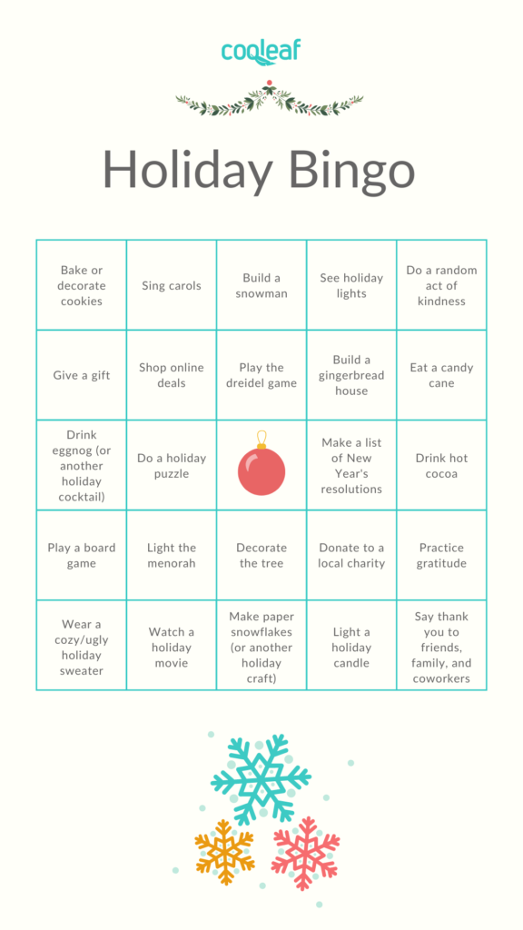 Holiday bingo card for virtual holiday party