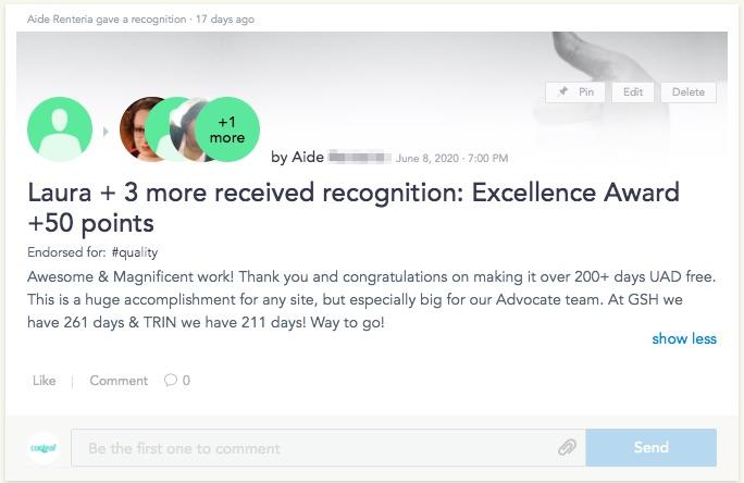 Team Recognition in Cooleaf