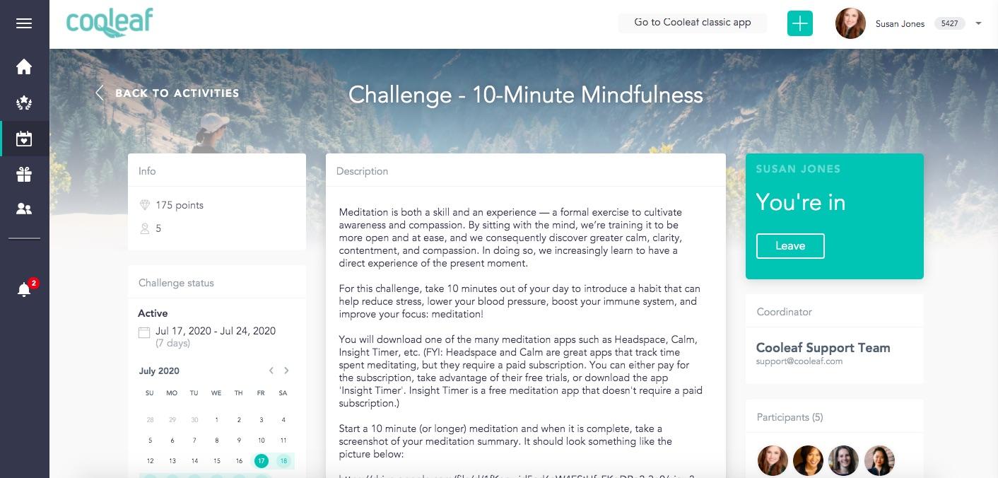 Cooleaf meditation challenge