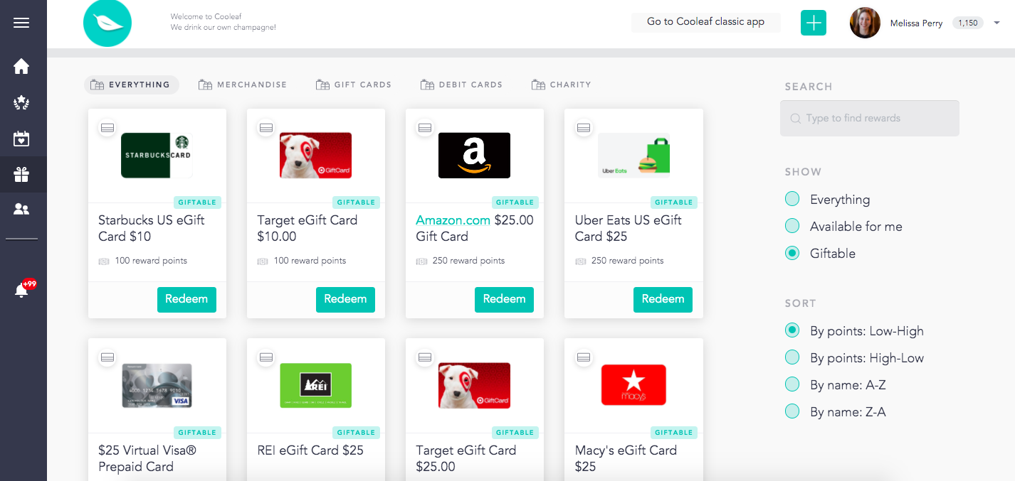 Send gift cards to your team for going above and beyond