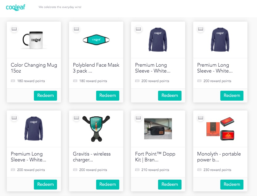 Custom rewards catalog on the Cooleaf platform: coffee mugs, face masks, shirts, and more