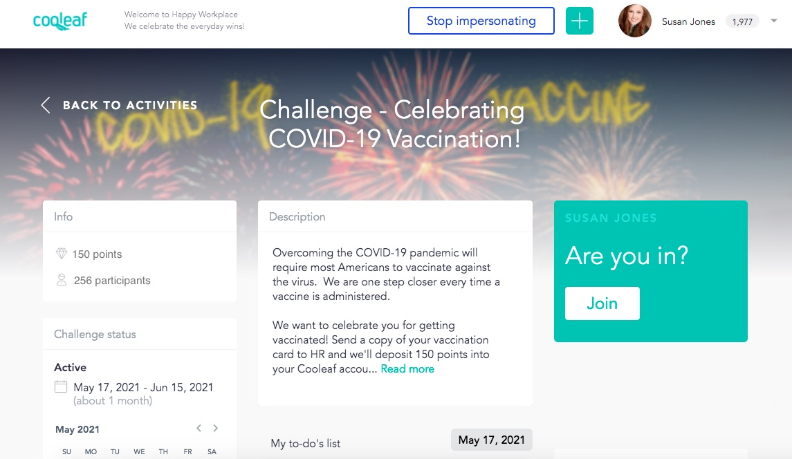 Foster employee engagement through a COVID-19 vaccination campaign