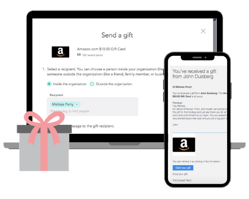 Easily send gift cards and other items to employees, customers, and clients