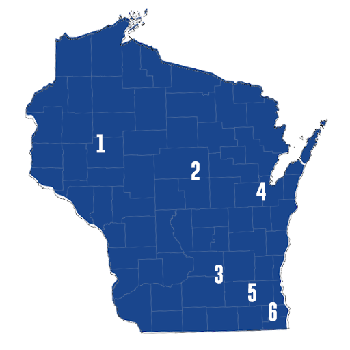 Map of 6 WI DECA Districts