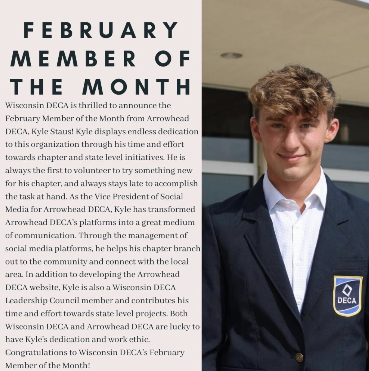 WI DECA February Member of the Month Kyle Staus