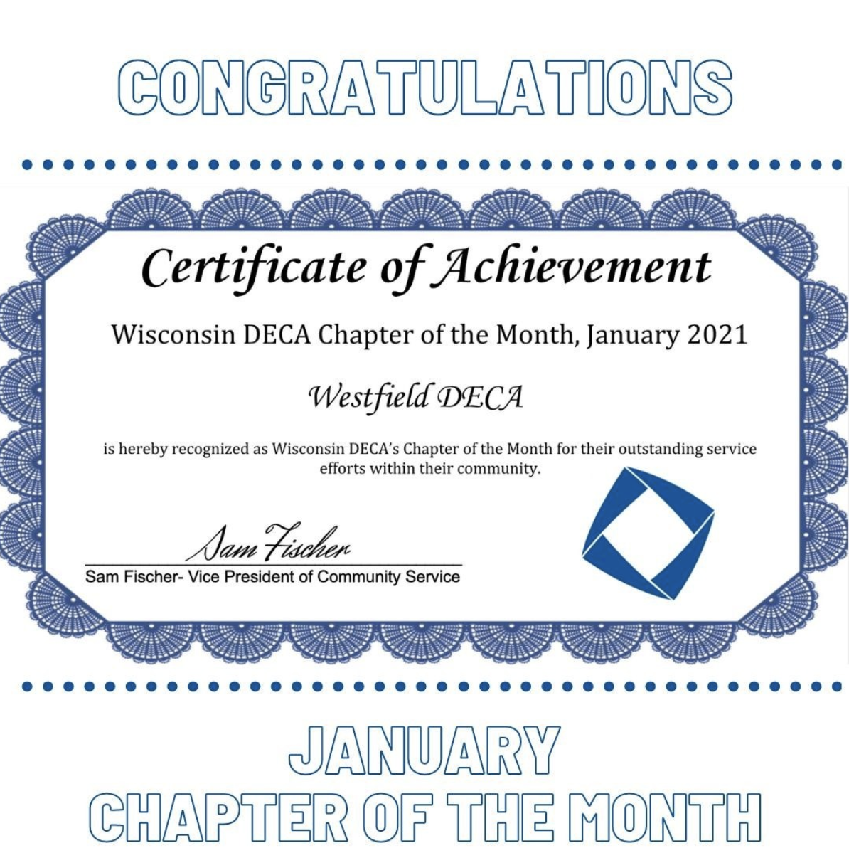 WI DECA January Member of the Month Certificate Westfield DECA