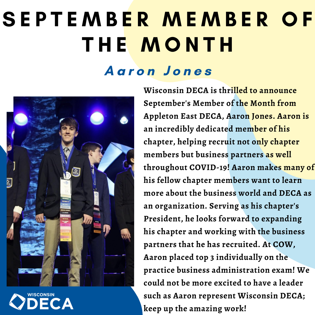 WI DECA August Member of the Month Kyle Staus
