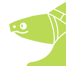 SnapperTail logo - profile of head and front leg - in bright greeen