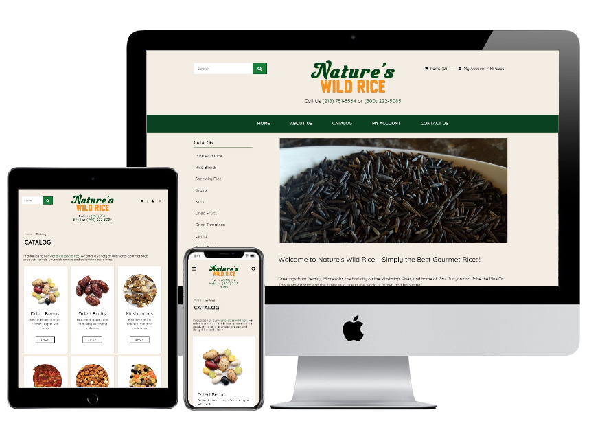 Nature's Wild Rice and Gourmet Foods website