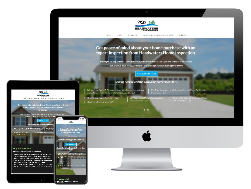 Headwaters Home Inspection website