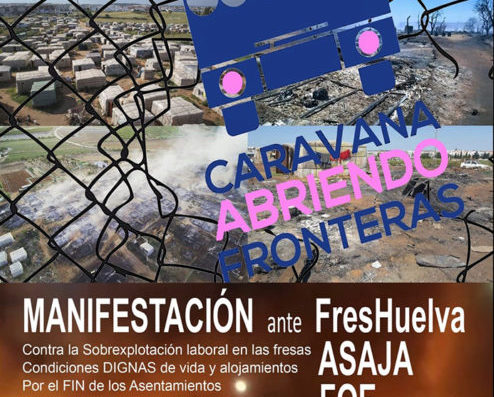Manifestación contra la sobrexplotación laboral en la recolección de fresas