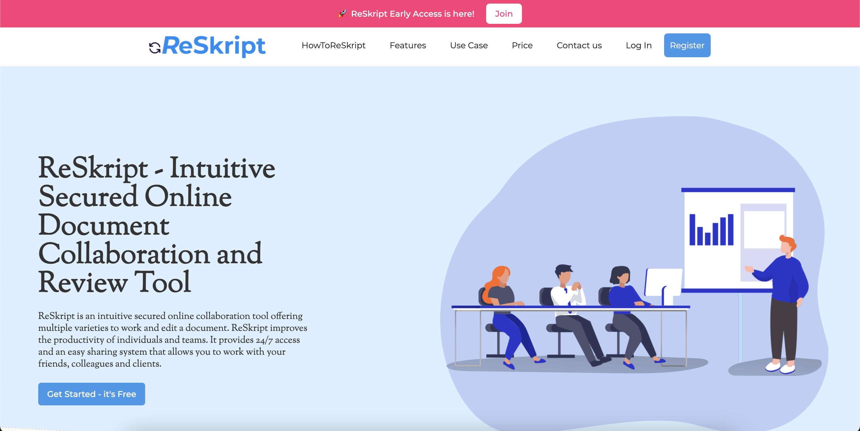 ReSkript Landing Page