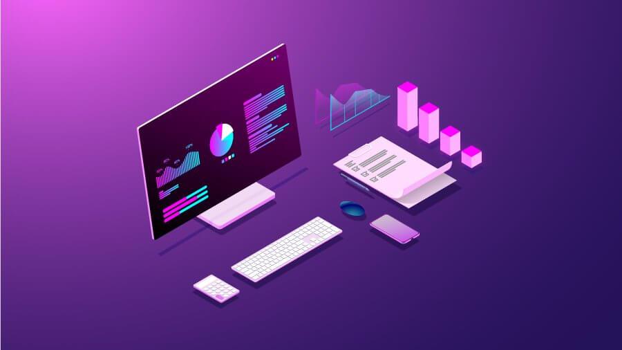 Ordenador y componentes en fondo púrpura