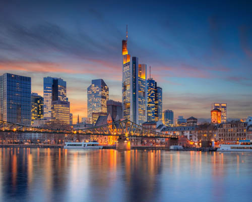 Skyline of Frankfurt, city of the HQ office of Cloudideas