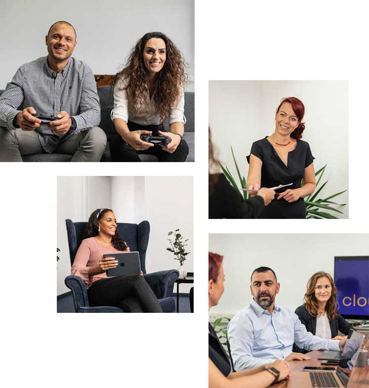 Set of 4 pictures of Cloudideas Salesforce team in different moments at the office