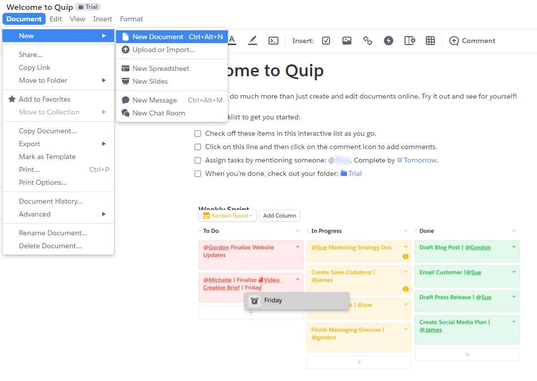 Quip productivity tool